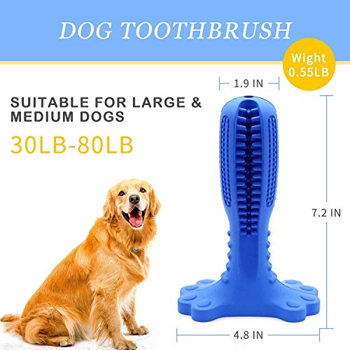 Dog Toys for Aggressive Chewers Large Breed, Toothbrush Stick for Dental Care, Natural Rubber Chew Toy for Large & Medium Dogs Pets (Blue)