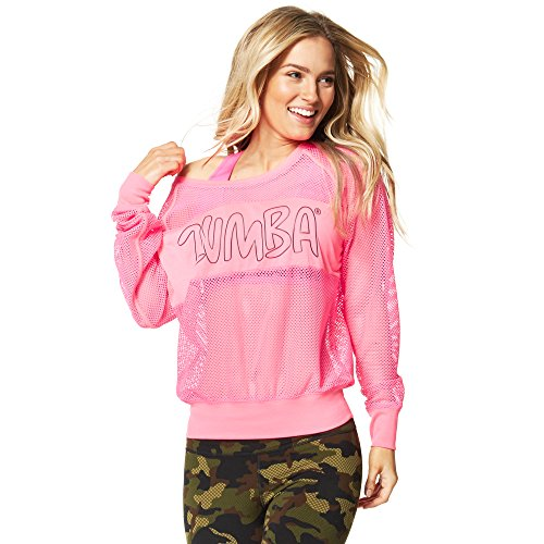 Zumba Fitness Glow Long Sleeve Pullover Sudadera Deportiva, Mujer, Azul, L