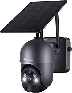 Security Camera Outdoor, Ctronics Wireless WIFI 360°PTZ Solar Security Camera, 15000mAh Battery-Powered Home Surveillance Camera with Spotlight Color Night Vision, AI Human Detection, 2-Way Audio,IP66