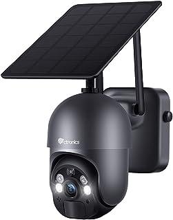 Security Camera Outdoor, Ctronics Wireless WIFI 360°PTZ Solar Security Camera, 15000mAh Battery-Powered Home Surveillance ...