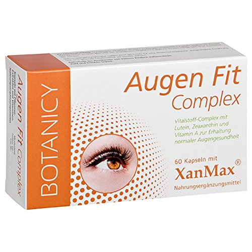 AUGEN FIT COMPLEX, einzigartiger Nährstoffkomplex, mit patentiertem XanMax®, für Augen, Sehkraft und Netzhaut, hochdosiert, auch für Brillenträger (60 Kapseln, Monatspack)
