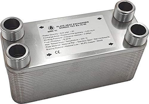 """Edelstahl Wärmetauscher Plattenwärmetauscher NORDIC Ba-16-34, 135kW, 34 platten, 1"""""""
