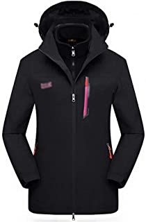 FYXKGLa Women's Outdoor Jacket Three-in-one catching Fleece Mountaineering Clothes ski Suit (Color : Black, Size : XXXXL)