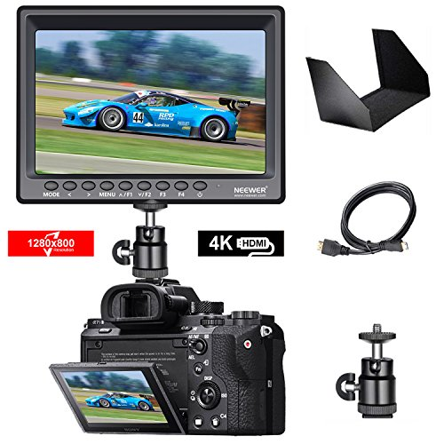 Neewer F100 da 7 Pollici Supporta 4k Input 1280x800 IPS Monitore da campo HDMI Video per DSLR Mirrorless Fotocamera SONY A7S II A6500 Panasonic GH5 Canon 5D Mark IV ed altri (Batteria non inclusa)