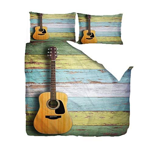 Jior Home Art Dekbedovertrek Set 3 Stks Gitaar Microvezel Bedding Quilt Cover Met Kussenslopen, Anti-Allergische, Ritssluiting Ontwerp