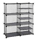 SONGMICS Cube Storage Unit, Interlocking Metal Wire Organizer with Divider Design, Modular Cabi…
