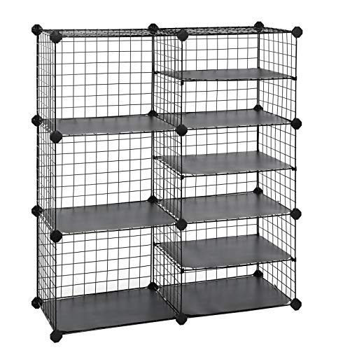 SONGMICS Cube Storage Unit, Interlocking Metal Wire Organizer with Divider Design, Modular Cabinet, Bookcase for Closet Bedroom Kid's Room, 32.7 L x 12.2 W x 36.6 H Inches, Black ULPI36H