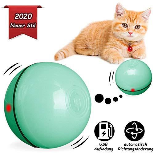BEIAOSU Katzenball Katzenspielzeug Ball Katzenkugel - Interaktives Katzenspielzeug Ball für Haustier Katze Hunde Rotierender Katzenball mit USB Kabel,Grün