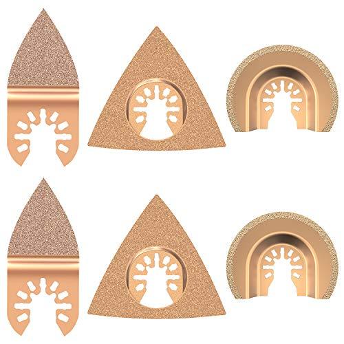 6 Stück Universal Hartmetall oszillierende Sägeblätter, gemischte Multitool-Sägeblätter, halbrunde Dreiecks-Finger-Set für Fliesen, Mörtel, Beton, Mauerwerk