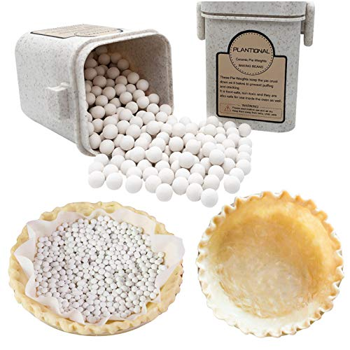 PLANTIONAL Pie Weights For Baking: 1.32 LB 10mm Baking Ceramic Beans Pie Crust Weights With Wheat Straw Container For Blind Baking Pastry(Beige)