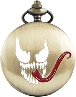 Hemobllo The Nightmare Before Christmas Pocket Watch Horrible Evil Long Tongue Pattern Retro Steampunk Mechanical Quartz Watch for Charismas Halloween Party