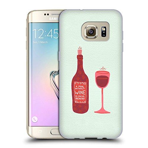 Head Case Designs Oficial Cat Coquillette Botella y Vidrio Vino Carcasa de Gel de Silicona Compatible con Samsung Galaxy S7 Edge