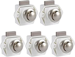 Pack van 5 Push Button Latch Lock 17-25mm Deursluitknoppen voor Boot Horsebox Camper Van Lade Kast Meubels (Wit)