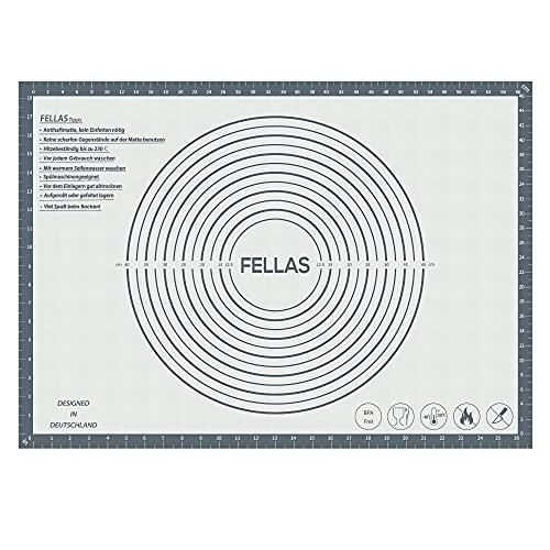 FELLAS - Backmatte mit Teigschaber & Tasche - rutschfeste Unterlage aus Silikon zum backen - ideales Küchenzubehör für Torten - praktische 2in1 Teigmatte & Dauerbackfolie - 70 x 50 cm