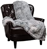 Chanasya Super Soft Fuzzy Shaggy Faux Fur Throw Blanket - Chic Design Snuggly Plush Lightweight with Fluffy Reversible Sherpa for Couch Living Room Bedroom and Home Décor (50x65 Inches) Gray