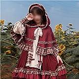 [Conjunto de 3 Piezas] Traje de Lolita Princess Dress Damas Cosplay Maid Big Swing Vestido Lindo Bosque Chica Manga Larga Vestido Gótico Rojo S