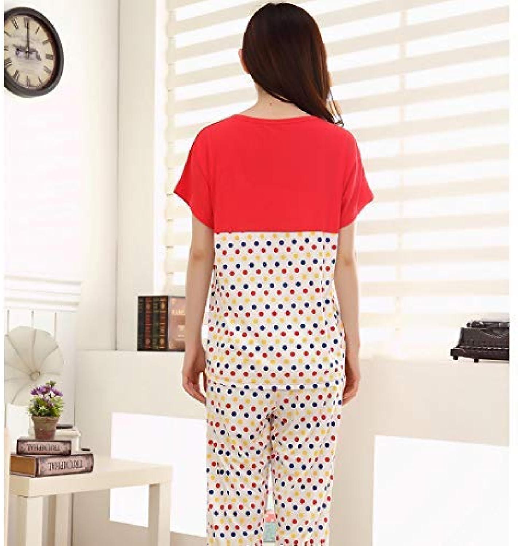 FERFERFERWON Nachthemd Weibliche Sommer kurzrmelige Kurze Hose modal niedlich Home-Set lssig Sommer Heimservice