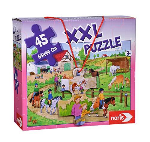 Noris 606031790 XXL Riesenpuzzle,Ferien auf dem Ponyhof - mit 45 Teilen (Gesamtgröße: 64 x 44 cm) - für Kinder ab 3 Jahren