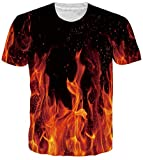 Younger Boys and Girls Unisex Rave Shirt 3D Print Colorful Fire Flame Funny Cool Pattern 80s 90s Clothing for Mens Summer Crewneck Casual Short Sleeve T Shirts Tees M