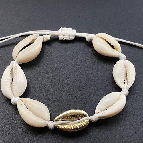 YIKOUQI Pulseras de Concha de cauri de Color Dorado para Mujer, Cuentas de Perlas, Brazalete con Abertura, Pulsera Bohemia, joyería de Playa