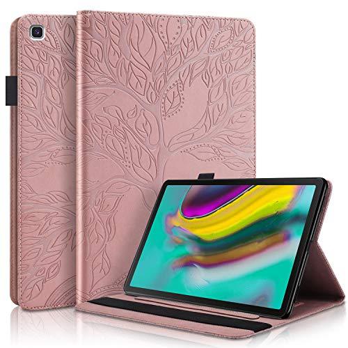 CaseFun Custodia per Samsung Galaxy Tab S5e 10,5 (T720 T725) Slim Smart Case Magnetico in Silicone PU Pelle Stand Flip Cover, Oro Rosa