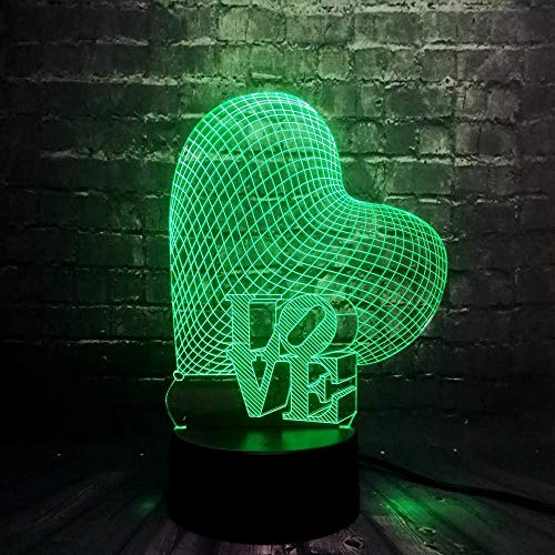 3D Night Light New Romantic Love Word Sweet Heart 3D Led Lamp Atmosphere Mood 7 Colors Changing Night Light Lover Birthday Gift Home Decor