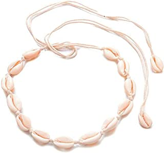 Timetries Beige Cowrie Shell Choker Necklace for Women Seashell Strand Summer Hawaiian Jewelry