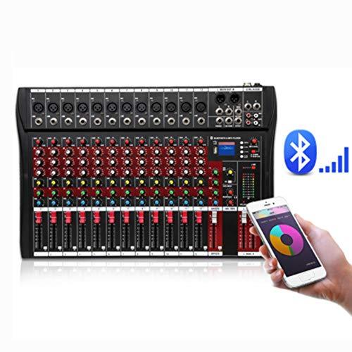 Power Mixer rode kleur 12-kanaals mixer Stage Performance Karaoke met USB Bluetooth Reverb Effect Monitor Professionele 12-kanaals Tuner ondersteunt USB/SD-kaart professioneel
