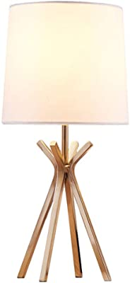 Popilion Modern Brass Gold Metal Base Bedside Elegant Table Lamp, Small Table Lamps with White TC Fabric Lampshade for Bedroom Living Room Office Home Decor