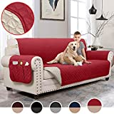 MOYMO Reversible Sofa Cover, Sofa Slipover with Pockets, Couch Covers for 3 Cushion Couch, Machine Washable Sofa Covers for Dogs, Children, Pets,Kids(Sofa:Burgundy/Beige)