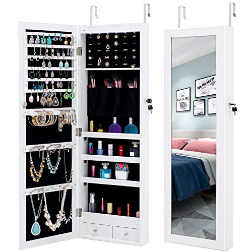 VEAREAR Wall-Mounted Retro Simple Jewelry Storage Mirror Cabinet with LED Lights Can Be Hung On The Door Or Wall for Living Room Or Bedroom