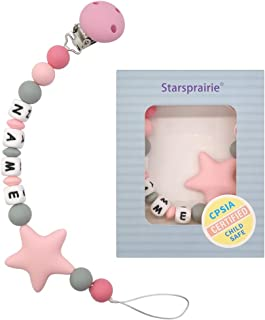 Customized Pacifier Clip Baby Teething Toys Personalized Name Paci Clip BPA Free Silicone Beads Binky Holder for Boy Girl Shower Gift (Pink)