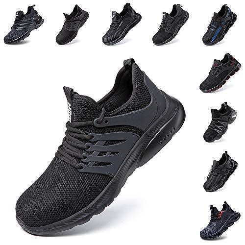 Zapatos de Seguridad Hombre Mujer con Punta de Acero Zapatillas de Trabajo Deportivo Calzado Ligeros Comodo Transpirables Unisex Negro Talla 43 EU