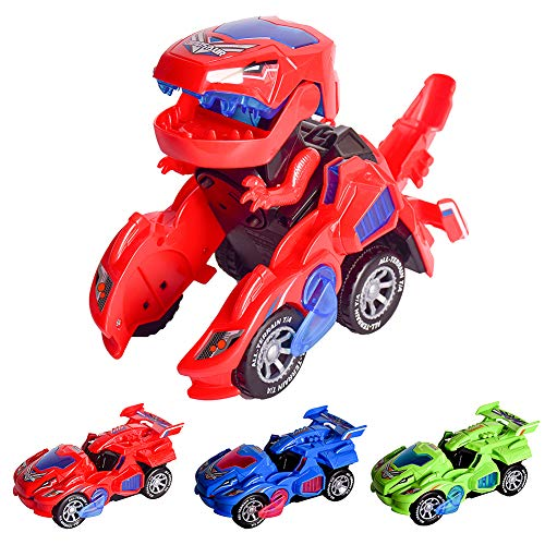 AINOLWAY Transforming Dinosaur Car, 2 in 1 Dino Transformer Toys for 2 3 4 5 6 Year Old Kids(red)