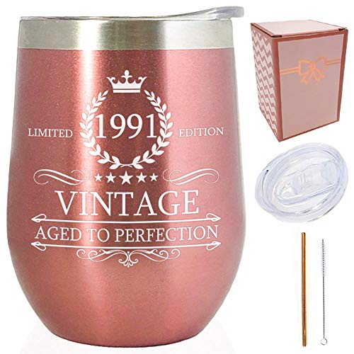 1991 30. Geburtstag Geschenke für Frauen   Vintage Aged to Perfection Rose Gold 340 ml isoliert doppelwandig / Edelstahl Becher / Tasse / Weinglas mit Deckel & Strohhalm