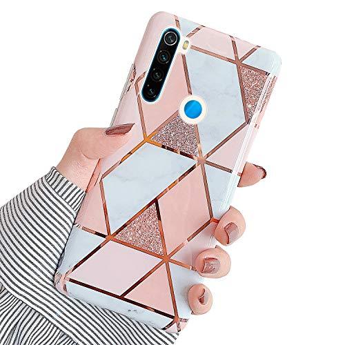 QPOLLY Compatible avec Xiaomi Redmi Note 8 Marbre Coque, Brillante Glitter Paillettes Bling Case Motif de Marbre Ultra Mince Souple TPU Silicone Gel Bumper Antichoc Housse Étui de Protection,Or Rose