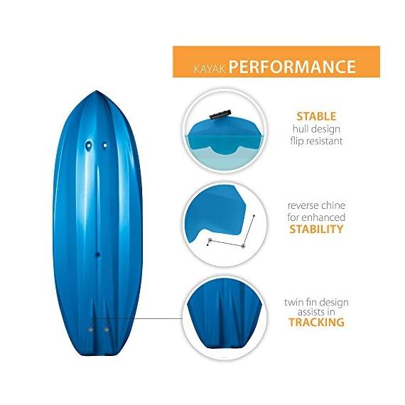 Lifetime Youth Wave Kayak (Paddle Included), Blue, 6' 10 Ergonomic Cockpit Design Enhances Balance and Motor Skills Molded finger handles on each side of the kayak Reverse chine for enhanced stability with swim-up step