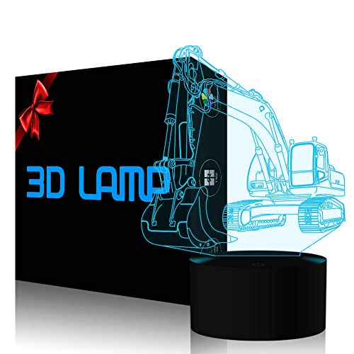 Excavator 3D Lamp LED Optical Illusion Night Light for Kids Nursery Bedroom, YKL World 7 Color Changing Bedside Table Lights Birthday Gift Toys for Boys