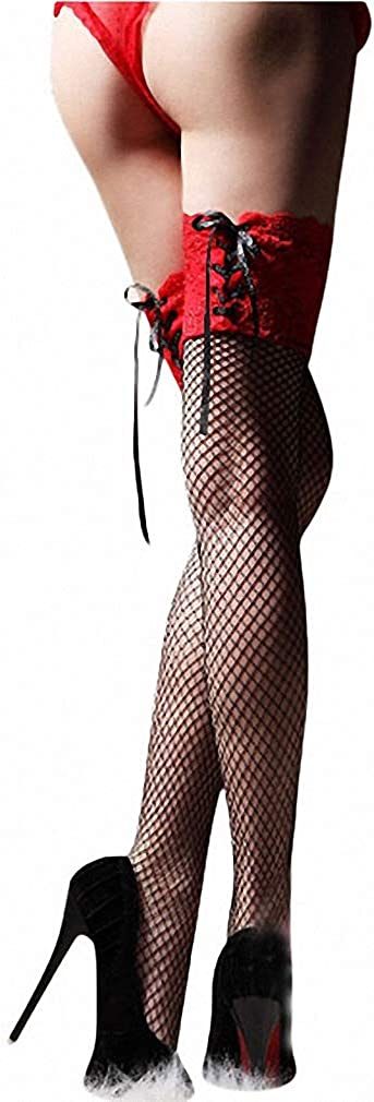 Dawery Womens Sexy Stockings Sheer Straps Lace Fishnet Mesh Top Thigh High Sexy Lingerie Tight High Stockings 3 Color