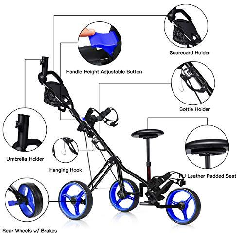 Tangkula Golf Push Cart, Foldable 3 Wheels Push Pull Cart, Lockable Golf Trolley with Seat Scoreboard Bag,Golf Push Cart(Navy)