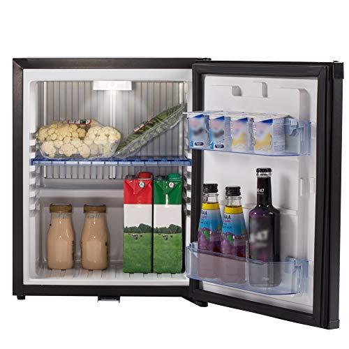 SMETA Mini Fridge No Noise: Absorption Refrigerator 12V/110V Portable for Dorm Office Truck Camper, with Lock, DC AC, 1.0 Cu.Ft, Black