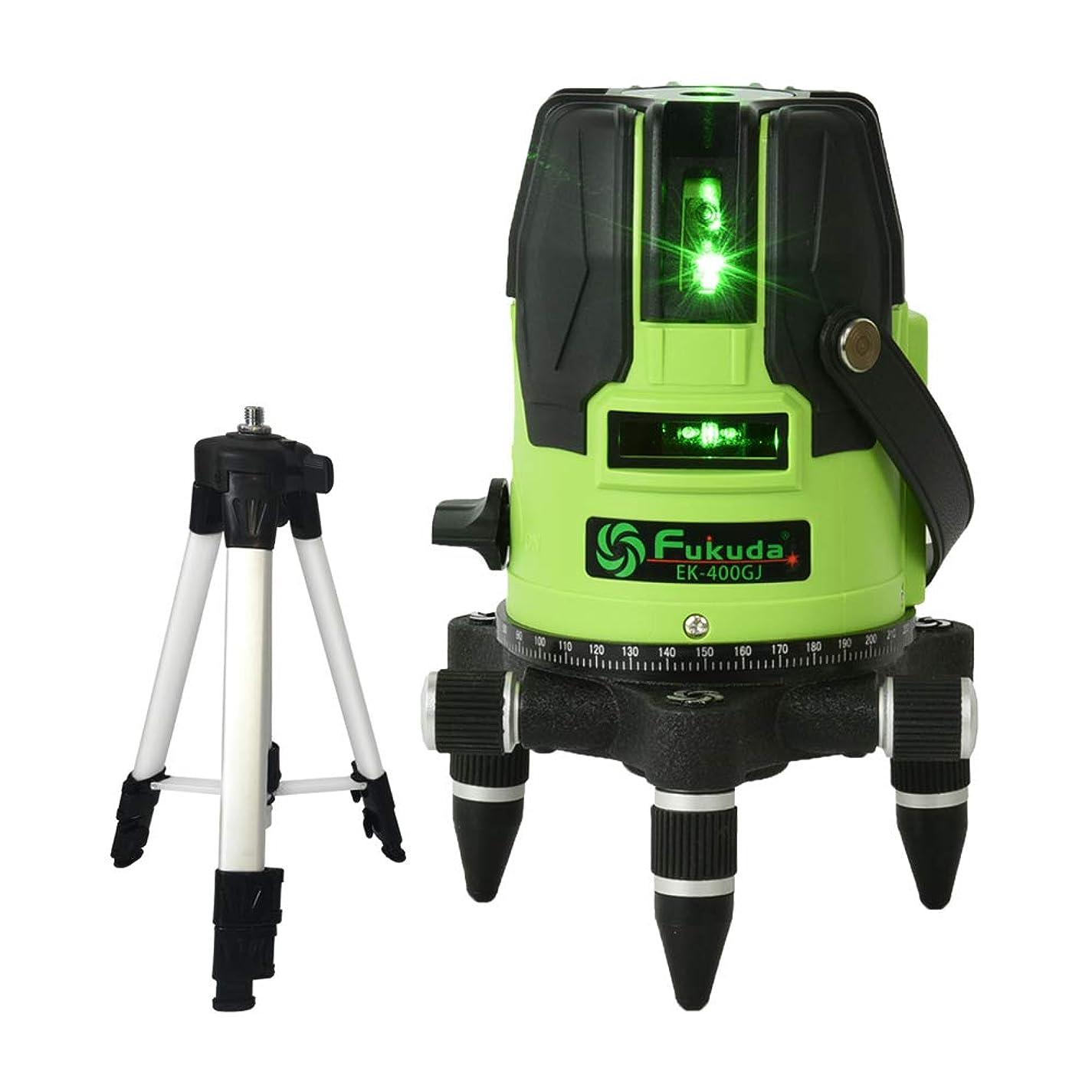 苦しみ出演者起きているFUKUDA 5ライン グリーンレーザー墨出し器+エレベーター三脚セット EK-400GJ リチウム電池+単3電池+ACアダプターも対応可能 4方向大矩照射モデル メーカー1年保証