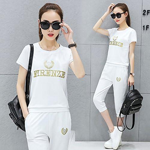 QNQA les sports d'été de danse en costume, à hommeches courtes, sept points un jogging, les pantalons, deux ensembles,s,blanc
