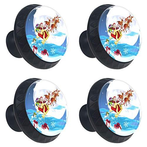 Weihnachtsmann in seinem Schlitten 4 Stück für Home Garderobe Büro Küchenkommode und Schrank Diy Runde Schrankknöpfe Glasschublade Zuggriff mit Schrauben