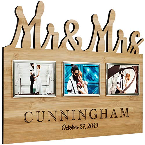 Custom Decorative Mr & Mrs and Happily Ever After Photo Frames Include your Personalized Text (Mr & Mrs.-Bamboo)