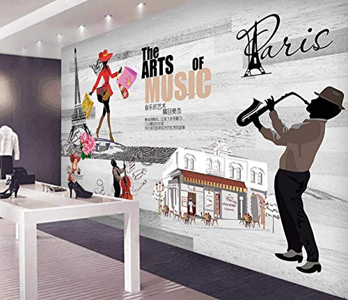 Photo Wallpaper Fashion Music Street Shopping Tooling Background Wall Large Wall Mural Series Wallpaper for Living Room Wall Art Wall Decor Home Decor-118.2X82.7Inch