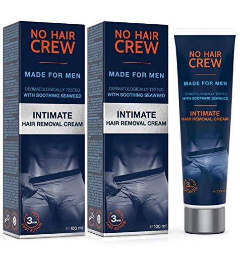 2 x NO HAIR CREW Crema Depilatoria Intime di Prima Qualità – Per Uomo (2 x 100 ml)