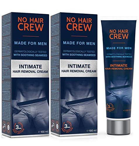 2 x NO HAIR CREW Crema Depilatoria Íntima Premium - Extra Suave Hecha Para Hombres - Conjunto de 2-200ml