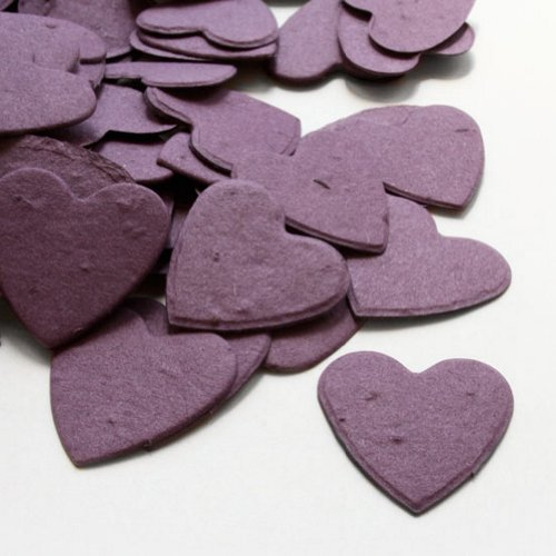 Heart Shaped Plantable Seed Confetti in Purple Value Pack (two 350 piece bags = 700 pieces of seed confetti) by BPW