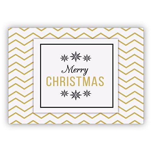 Mooie grafische kerstkaart met zigzag achtergrond in goudlook: Merry Christmas • Kerstwenskaarten set met enveloppen voor Kerstmis, Nieuwjaar, oudejaarsavond voor familie, vrienden, collega's van het bedrijf 4 Grußkarten